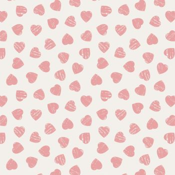 REMNANT Love Hearts Pink on Cream Dove House Valentine Heart Romance Cotton Fabric