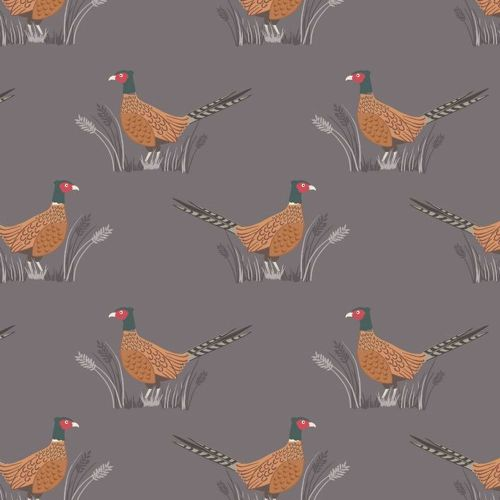 Friendly Pheasant on Earth Cotton Fabric