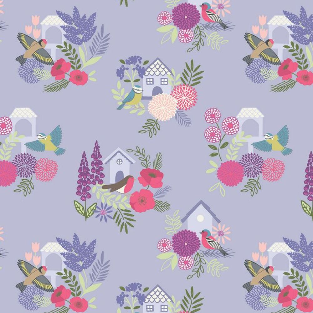 Bird Houses on Lilac Floral British Birds Wildlife Cotton Fabric