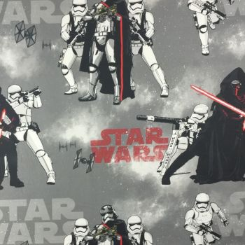 Star Wars Kylo Ren Stormtrooper TIE Fighter Smoke Grey Storm Trooper Force Awakens Cotton Fabric