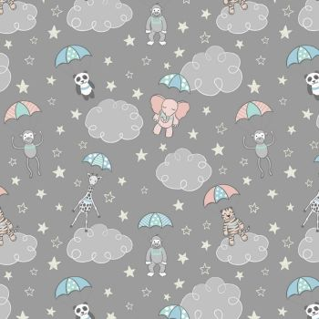 Parachuting Babies Grey Baby Animal Panda Elephant Welcome to the World Nursery Cotton Fabric