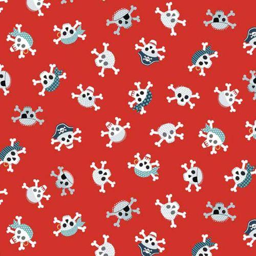 Pirates Skull Crossbones Skulls Red Cotton Fabric