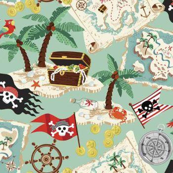 Pirates Treasure Maps Palm Trees Flags Compass Cotton Fabric