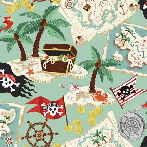 Pirates Treasure Maps Palm Trees Flags Compass Cotton Fabric