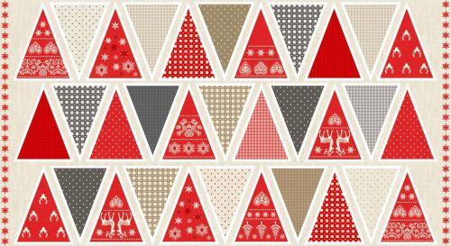 Festive Scandi Christmas DIY Mini Bunting Panel Cotton Fabric by Makower pe