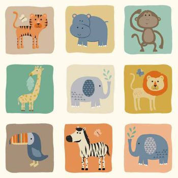 Baby Jungle Blocks Animal Lion Elephant Monkey Hippo Tiger Giraffe Toucan Zebra on Cream Nursery Cotton Fabric