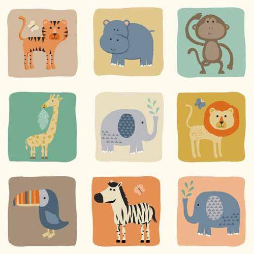 Baby Jungle Blocks Animal Lion Elephant Monkey Hippo Tiger Giraffe Toucan Z