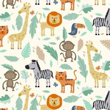 Baby Jungle Scenic Animal Lion Monkey Tiger Giraffe Toucan Zebra on Cream Nursery Cotton Fabric