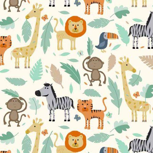 Baby Jungle Scenic Animal Lion Monkey Tiger Giraffe Toucan Zebra on Cream N
