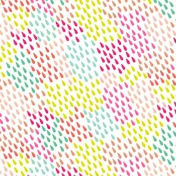 Fantasy Multi Coloured Raindrops on White Unicorn Rainbow Colour Rain Drops Cotton Fabric