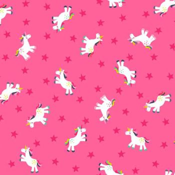 Fantasy Unicorns Stars on Pink Unicorn Rainbow Cotton Fabric