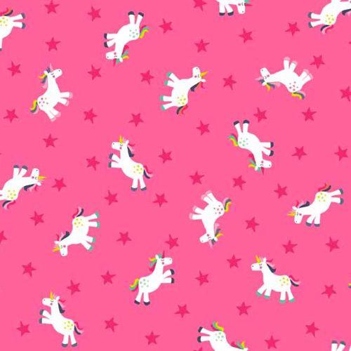 Fantasy Unicorns Stars on Pink Unicorn Rainbow Cotton Fabric
