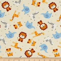 Noah's Story Ark Animals Tossed Tiger Zebra Giraffe Elephant Lion Nursery Cotton Fabric