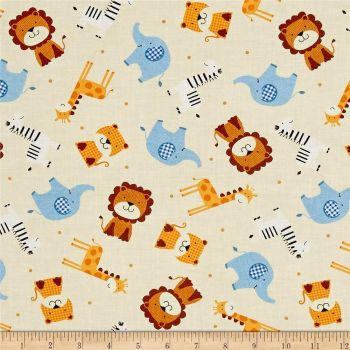 Noah's Story Ark Animals Tossed Tiger Zebra Giraffe Elephant Lion Nursery Cotton Fabric