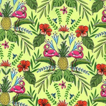Flamingos Flock To The Oasis Pineapple Limeade Tropical Flamingo Floral Cotton Fabric