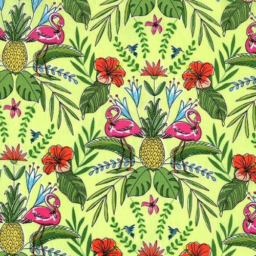Tropicana Main Flamingos on Sand Green Tropical Cotton Fabric