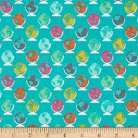 Erin McMorris Globetrot Seablue Turquoise Globe World Map Travel Cotton Fabric