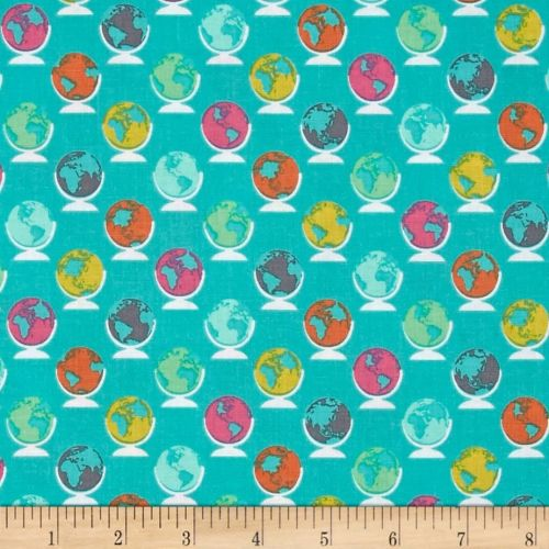 Erin McMorris Globetrot Seablue Turquoise Globe World Map Travel Cotton Fab