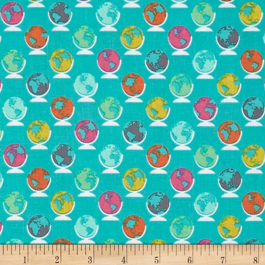 Erin McMorris Globetrot Seablue Turquoise Globe World Map Travel Cotton Fab