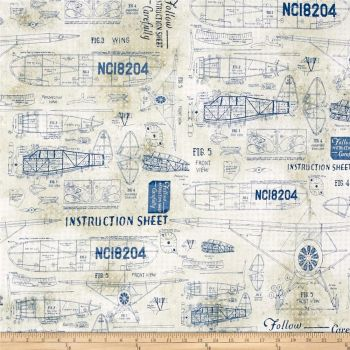 Model Airplanes Blue Aeroplane Flight Plane Blueprints Travel Cotton Fabric