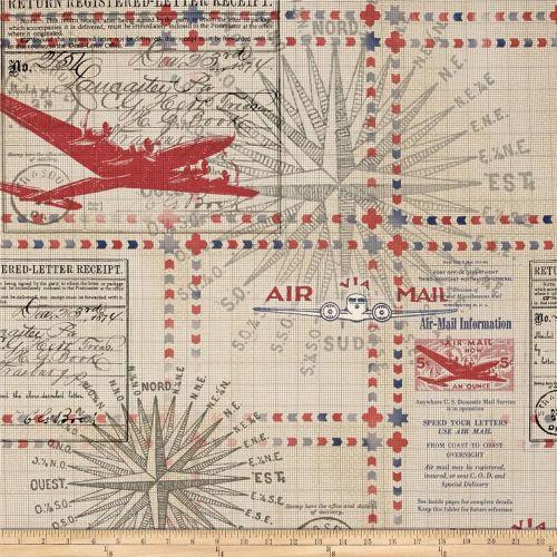In Transit Plane Airplane Aeroplane Flight Air Mail Red Cotton Fabric