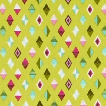Tula Pink Slow & Steady Track Flags Strawberry Kiwi Lime Green Pink Geometric Diamond Triangle Cotton Fabric