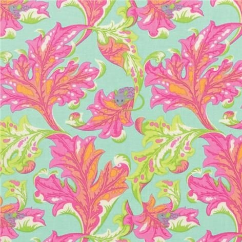 Tula Pink Tabby Road Mouse Eek Marmalade Skies Mice Botanical Leaf Floral C