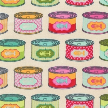 Tula Pink Tabby Road Cat Snacks Strawberry Fields Cat Food Tins Cans Cotton Fabric