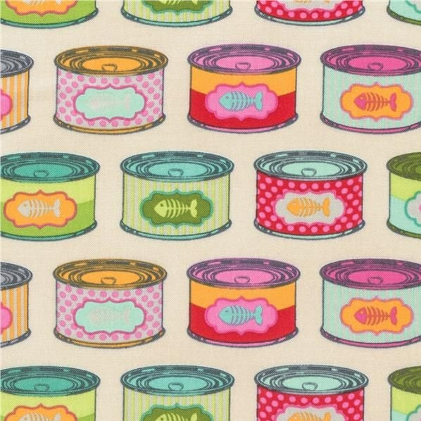 Tula Pink Tabby Road Cat Snacks Strawberry Fields Cat Food Tins Cans Cotton