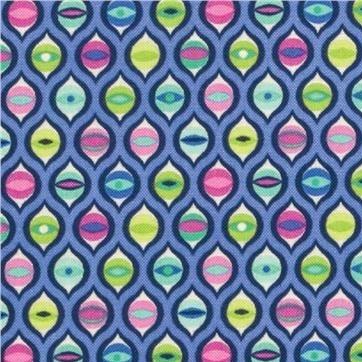 Tula Pink Tabby Road Cat Eyes Bluebird Geometric Diamond Cotton Fabric