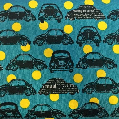 VW Beetle Car Bug Volkswagen Teal Yellow Spot Cosmo Tex Japan Cotton Oxford
