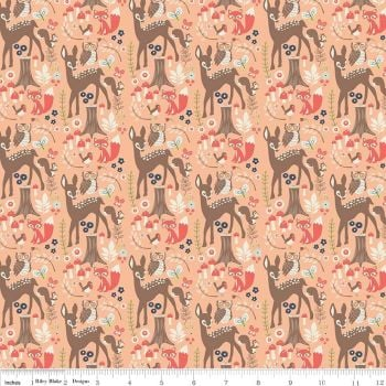 REMNANT Woodland Spring Main Coral Deer Owl Fox Cotton Fabric