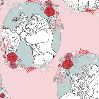Disney Princess Beauty and the Beast Love Light Pink Belle Rose Cotton Fabric