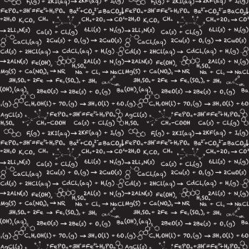 Equations Chemistry Science Geek on Black Cotton Fabric