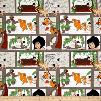 Disney Classics Jungle Book Main Character Blocks Taupe Baloo Mowgli King Louie Shere Khan Cotton Fabric