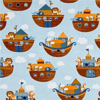 Noah's Story Ark Animals Noah's Boat Light Blue Tiger Zebra Giraffe Elephant Lion Nursery Cotton Fabric