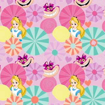 REMNANT Disney Alice in Wonderland Cheshire Cat Cotton Fabric
