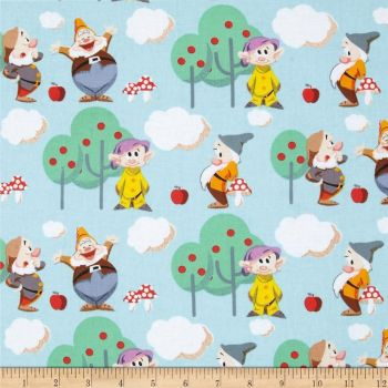 REMNANT Disney 7 Seven Dwarves Scenic Cotton Fabric