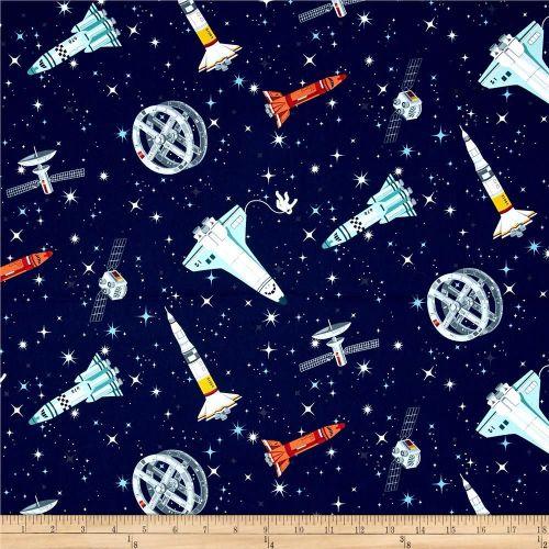 Galaxy Rockets on Midnight Space Solar System Satellites Stars Cotton Fabri