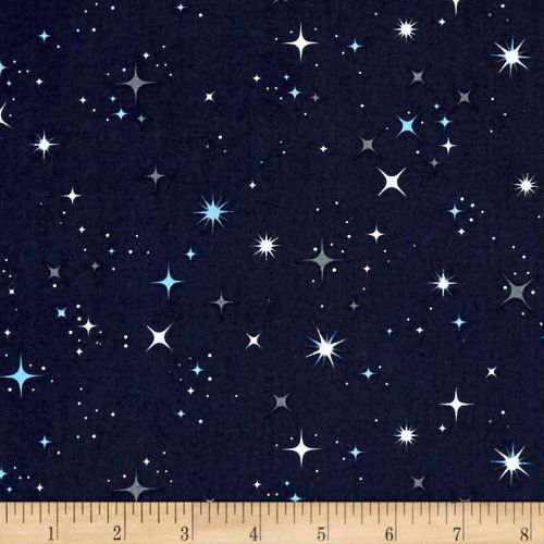 Galaxy Stars on Midnight Space Constellation Star Cotton Fabric