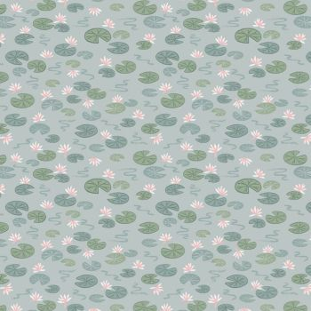 Down By The River Lily Pads on Light Blue British Wildlife Countryside Cotton Fabric