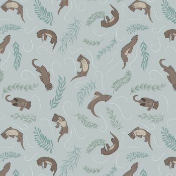 Down By The River Otters on Pale Grey Blue British Wildlife Otter Countryside Cotton Fabric