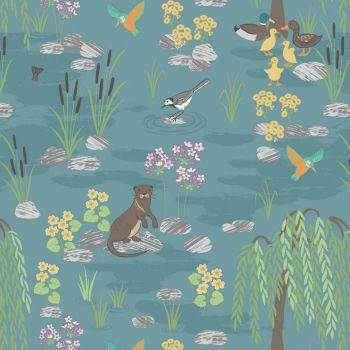Down By The River on Teal British Bird Otter Kingfisher Wildlife Countryside Cotton Fabric