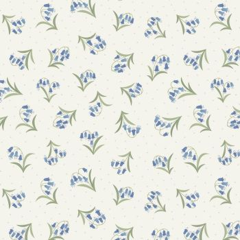 Bluebell Flowers on Cream Flo's Wildflowers British Floral Cotton Fabric