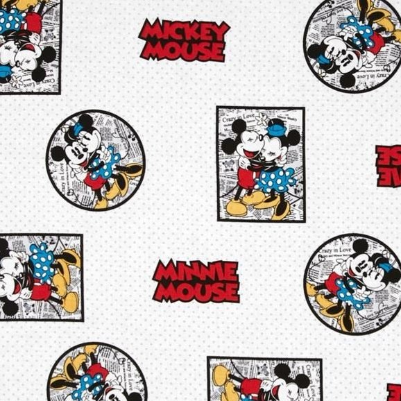 Disney Mickey Vintage Mickey & Minnie Mouse Framed White Cotton Fabric