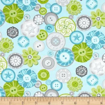 Sewing Room Buttons Aqua Blue Sewing Theme Button Cotton Fabric