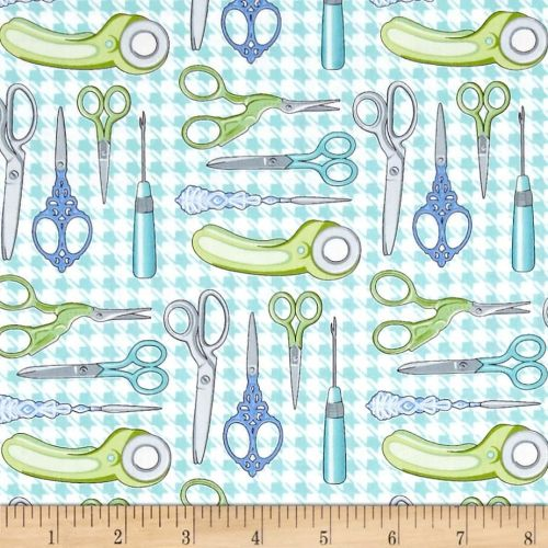 Sewing Room Scissors Aqua Snips Rotary Cutter Sewing Theme Houndstooth Cott