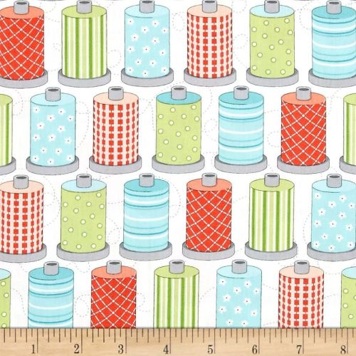 Sewing Room Spools White Cotton Reel Sew Spool Sewing Theme Cotton Fabric