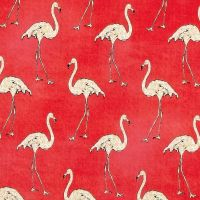 DESTASH 1m Length Flamingos Beach Divas Caribbean Coral Flamingo Bird Tropical Cotton Fabric