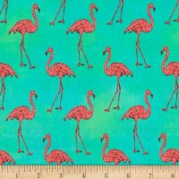Flamingos Beach Divas Cabana Green Aqua Pink Flamingo Bird Tropical Cotton Fabric